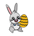 beautiful rabbit with egg painted easter character vector image