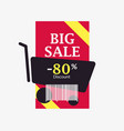 big sale 80 percent discount barcode and shopping vector image vector image