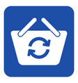 blue white sign - shopping basket refresh icon vector image vector image