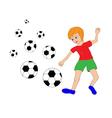 boy and soccer balls vector image