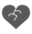broken heart glyph icon love and broke vector image vector image