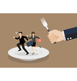 Business people run away from big hungry man vector image vector image