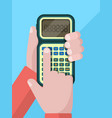 calculator hand businessman holding and using vector image