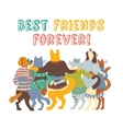 Cats and dogs pets group friends hugs isolate vector image vector image