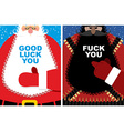 Christmas cards Good Santa Claus and angry vector image vector image