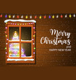 christmas window in wooden wall vector image