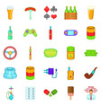 compulsive gambling icons set cartoon style vector image