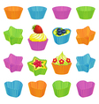 Cupcakes and colourful baking cups vector image vector image