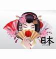cute asian girl with hand fans vector image vector image
