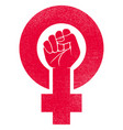female gender symbol with raised fist vector image vector image