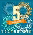 fireworks and numbers anniversary banners vector image