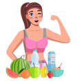 fitness blogger girl shows biceps healthy food vector image