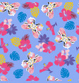 flower hibiscus and flying butterflies seamless vector image
