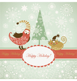 funny bird and cat for greeting card vector image
