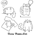 Funny cartoon cats silhouette for your design vector image vector image