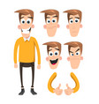 funny cartoon character emotions set vector image