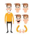 funny cartoon character emotions set vector image