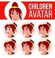 girl avatar set kid high school face vector image