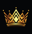 golden crown symbol icon logo on black vector image vector image