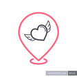 heart with wings pin map icon vector image vector image