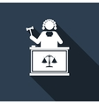 Judge With Gavel icon with long shadow vector image