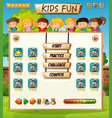 kids on game template vector image