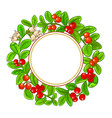 lingonberry branches frame vector image vector image