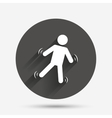 Man falls sign icon Falling down human symbol vector image