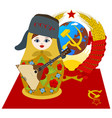 matryoshka in fur cap with a balalaika vector image vector image