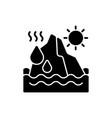 melting glaciers black glyph icon vector image