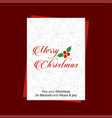 merry christmas card with red pattern background vector image vector image