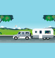 natural caravan car vector image