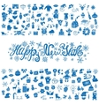 New year greeting cardIcons silhouetteblue vector image vector image