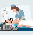 nurse and seriously ill patient vector image
