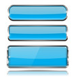 oval and rectangle blue 3d buttons with chrome vector image vector image