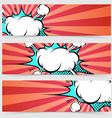 Pop art ray light style header footer collection vector image vector image