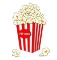 Pop corn in large striped paper box Fast cinema vector image