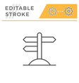 road pointer editable stroke line icon vector image