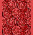 seamless pattern with tomatoes in a cut color vector image vector image