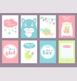 set of birthday banners with cute animals vector image vector image