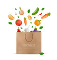 shopping paper bag with fresh vegetables falling vector image