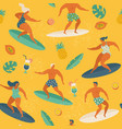 surfing girls and boys on surf boards catching vector image vector image
