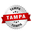 Tampa round silver badge with red ribbon vector image vector image