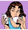 Tuesday girl looks at smartphone drinking tea or vector image vector image