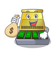 with money bag electronic cash register isolated vector image