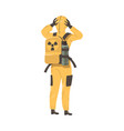 young man in protective suit standing back view vector image vector image