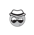 detective cartoon face wear sunglasses and hat vector image