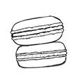 Macaron doodle set of hand drawn elements vector image