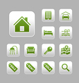 Real estate icons set green metallic theme vector | Price: 1 Credit (USD $1)