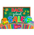 back to school sale with school board and color vector image
